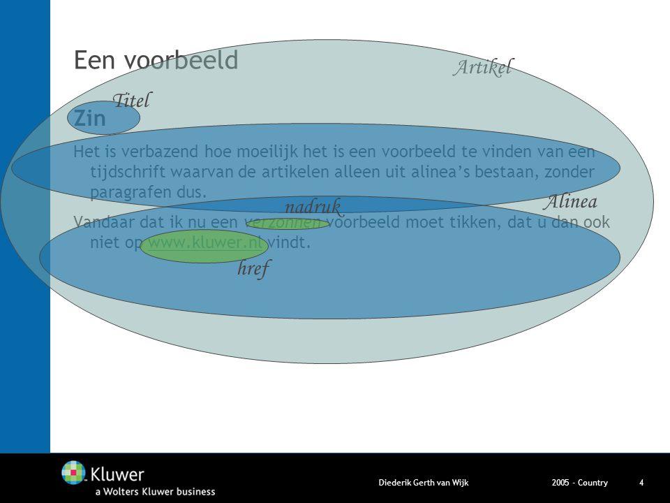 2005 - CountryDiederik Gerth van Wijk4 Een voorbeeld Zin Het is verbazend hoe moeilijk het is een voorbeeld te vinden van een tijdschrift waarvan de a