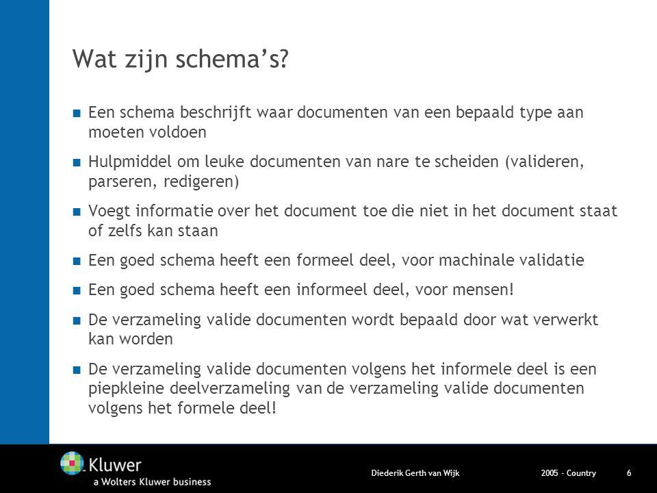 2005 - CountryDiederik Gerth van Wijk6 Wat zijn schema's? Een schema beschrijft waar documenten van een bepaald type aan moeten voldoen Hulpmiddel om