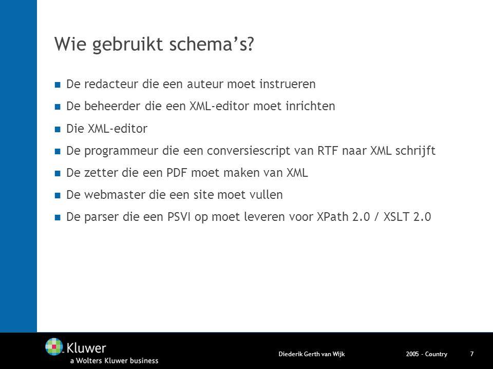 2005 - CountryDiederik Gerth van Wijk7 Wie gebruikt schema's? De redacteur die een auteur moet instrueren De beheerder die een XML-editor moet inricht