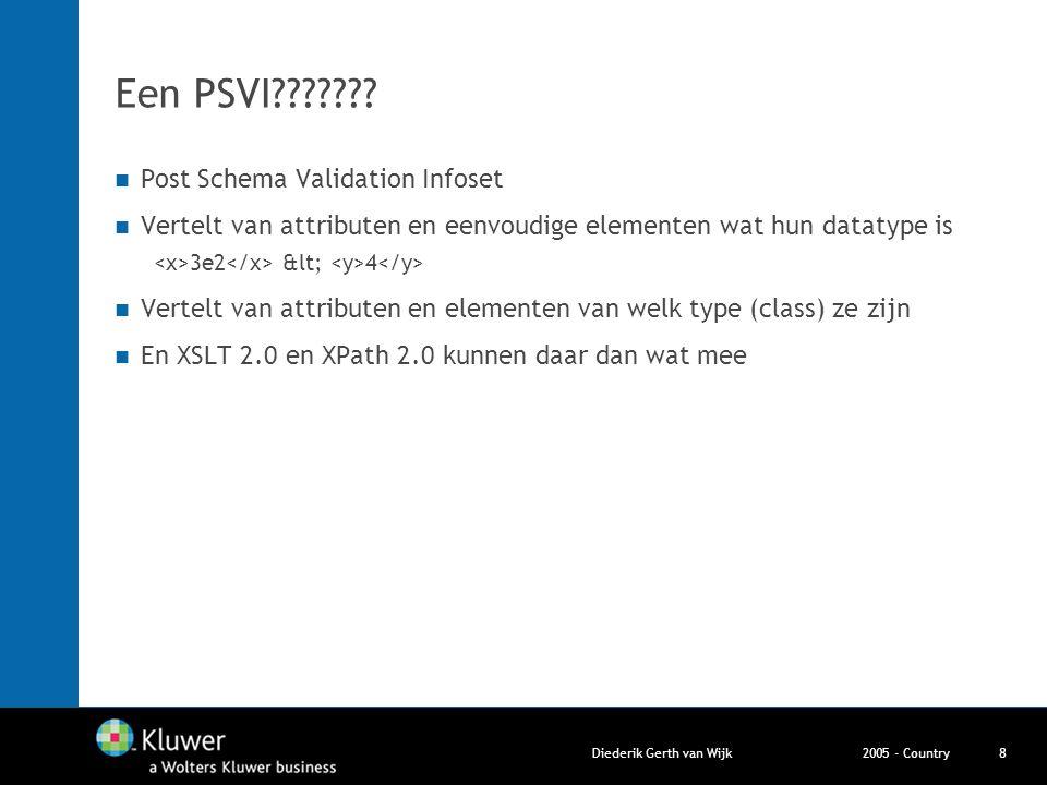 2005 - CountryDiederik Gerth van Wijk8 Een PSVI??????? Post Schema Validation Infoset Vertelt van attributen en eenvoudige elementen wat hun datatype