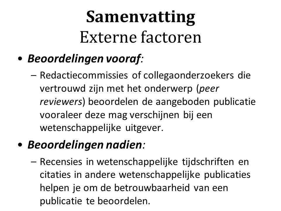 Samenvatting Externe factoren Beoordelingen vooraf: –Redactiecommissies of collegaonderzoekers die vertrouwd zijn met het onderwerp (peer reviewers) b