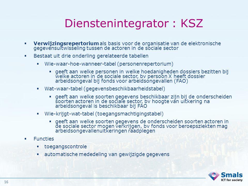 16 Dienstenintegrator : KSZ  Verwijzingsrepertorium als basis voor de organisatie van de elektronische gegevensuitwisseling tussen de actoren in de s