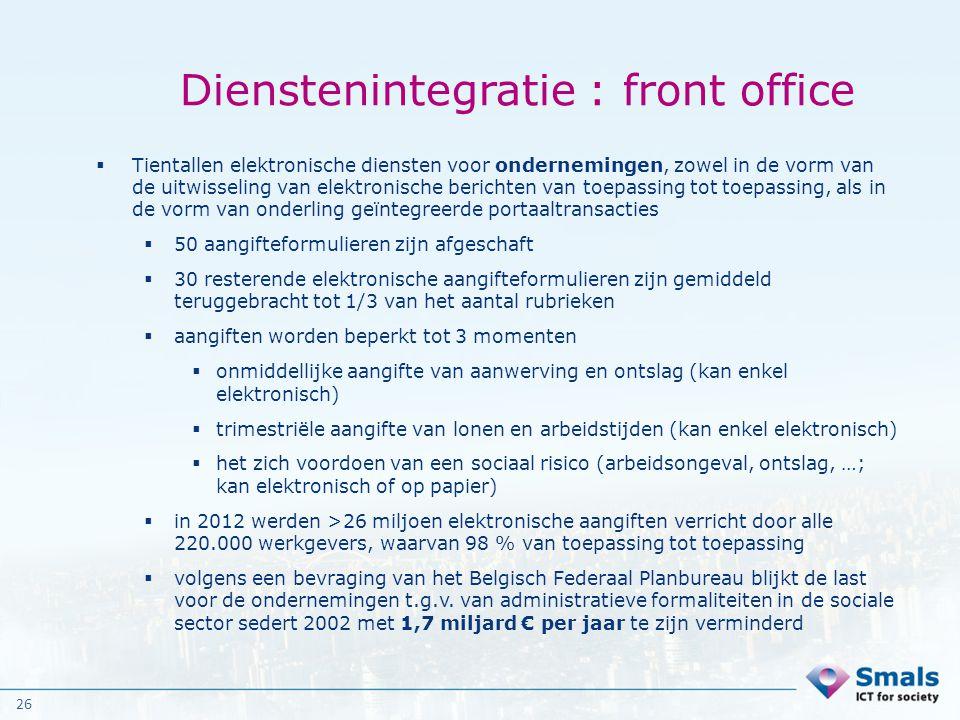 26 Dienstenintegratie : front office  Tientallen elektronische diensten voor ondernemingen, zowel in de vorm van de uitwisseling van elektronische be