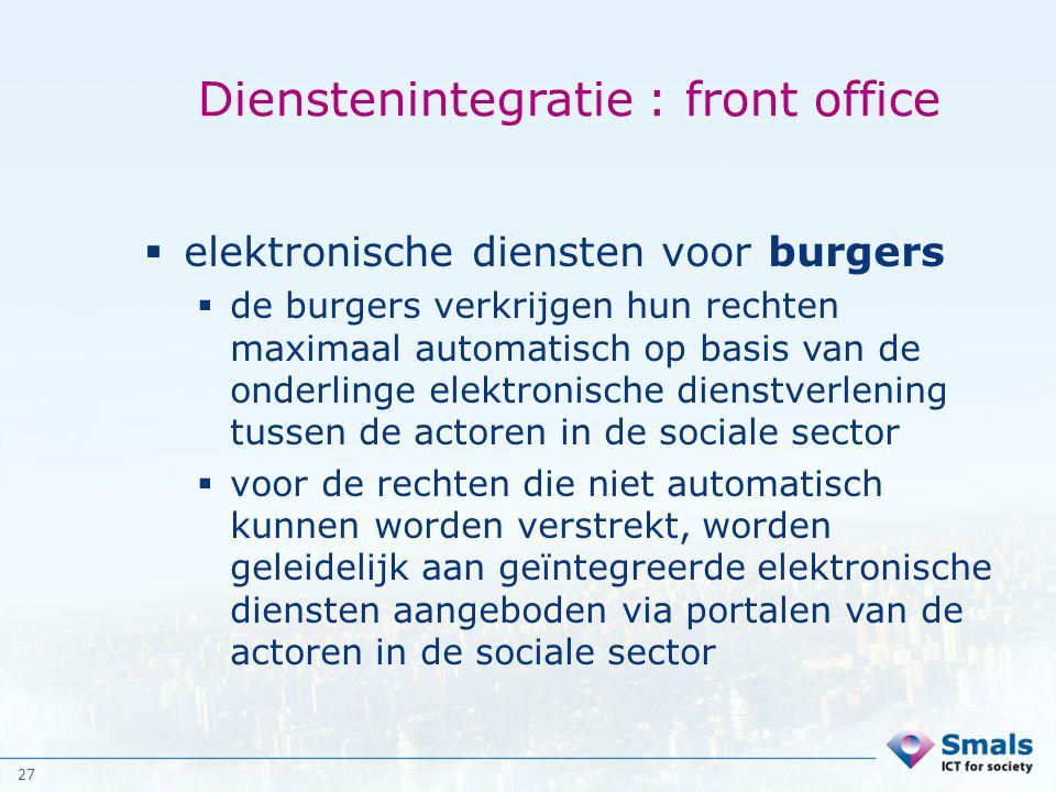 27 Dienstenintegratie : front office  elektronische diensten voor burgers  de burgers verkrijgen hun rechten maximaal automatisch op basis van de on
