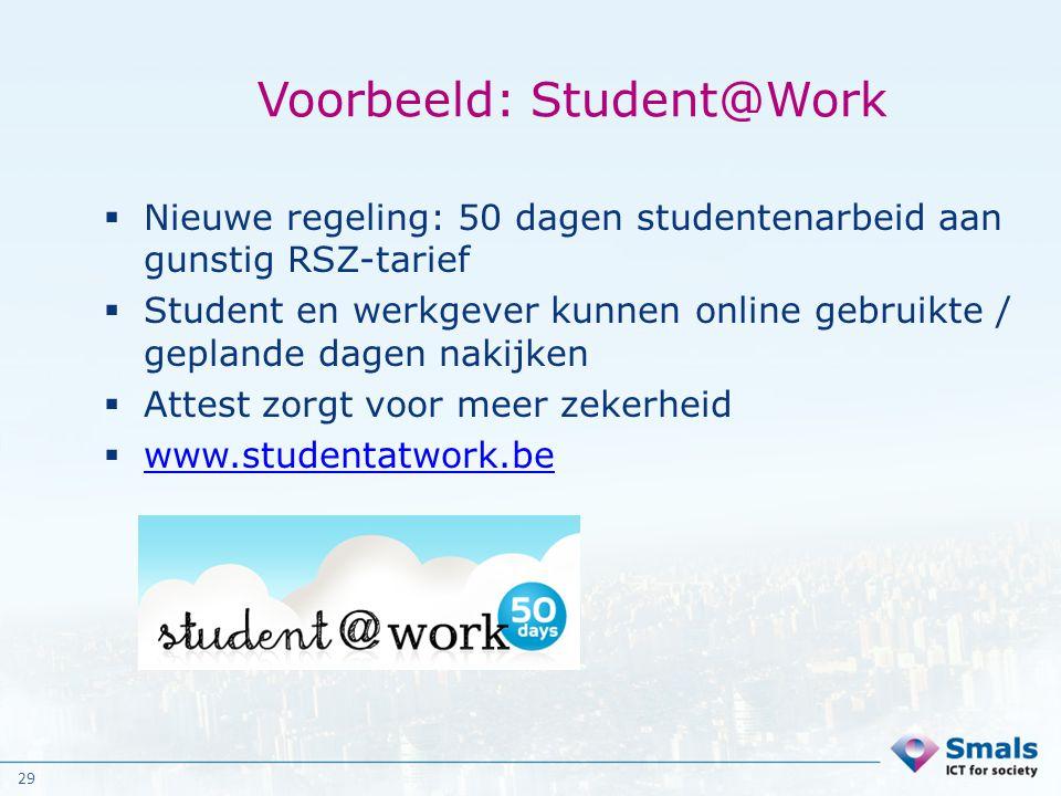 29 Voorbeeld: Student@Work  Nieuwe regeling: 50 dagen studentenarbeid aan gunstig RSZ-tarief  Student en werkgever kunnen online gebruikte / gepland