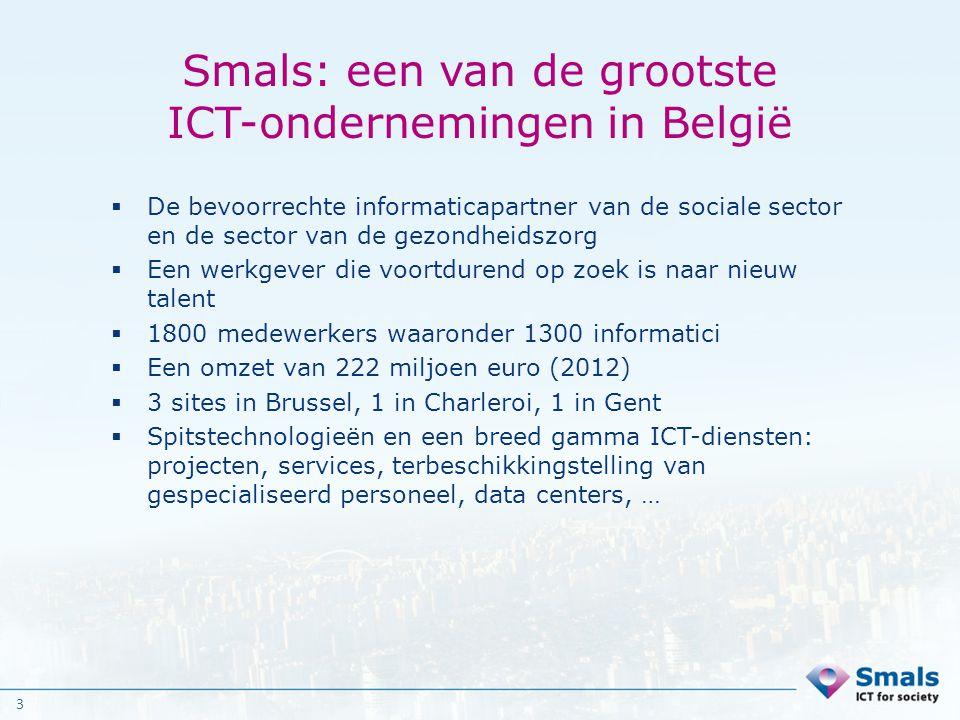3 Smals: een van de grootste ICT-ondernemingen in België  De bevoorrechte informaticapartner van de sociale sector en de sector van de gezondheidszor