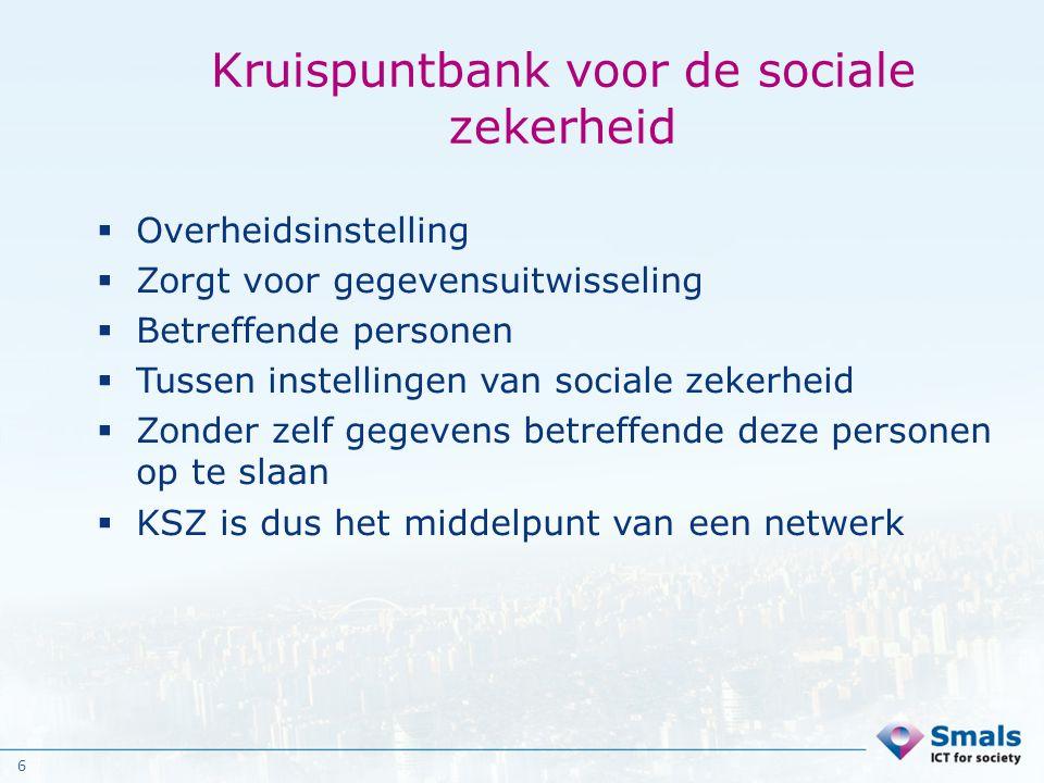 6 Kruispuntbank voor de sociale zekerheid  Overheidsinstelling  Zorgt voor gegevensuitwisseling  Betreffende personen  Tussen instellingen van soc