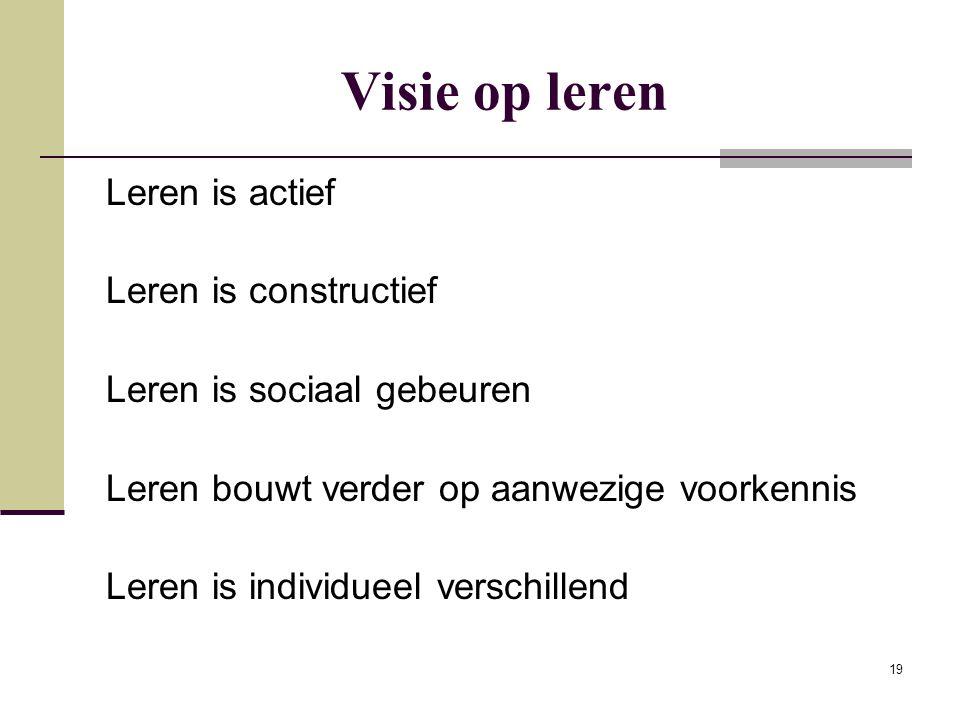 19 Visie op leren Leren is actief Leren is constructief Leren is sociaal gebeuren Leren bouwt verder op aanwezige voorkennis Leren is individueel vers