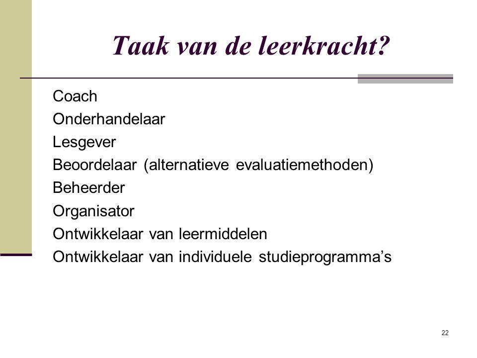 22 Taak van de leerkracht? Coach Onderhandelaar Lesgever Beoordelaar (alternatieve evaluatiemethoden) Beheerder Organisator Ontwikkelaar van leermidde