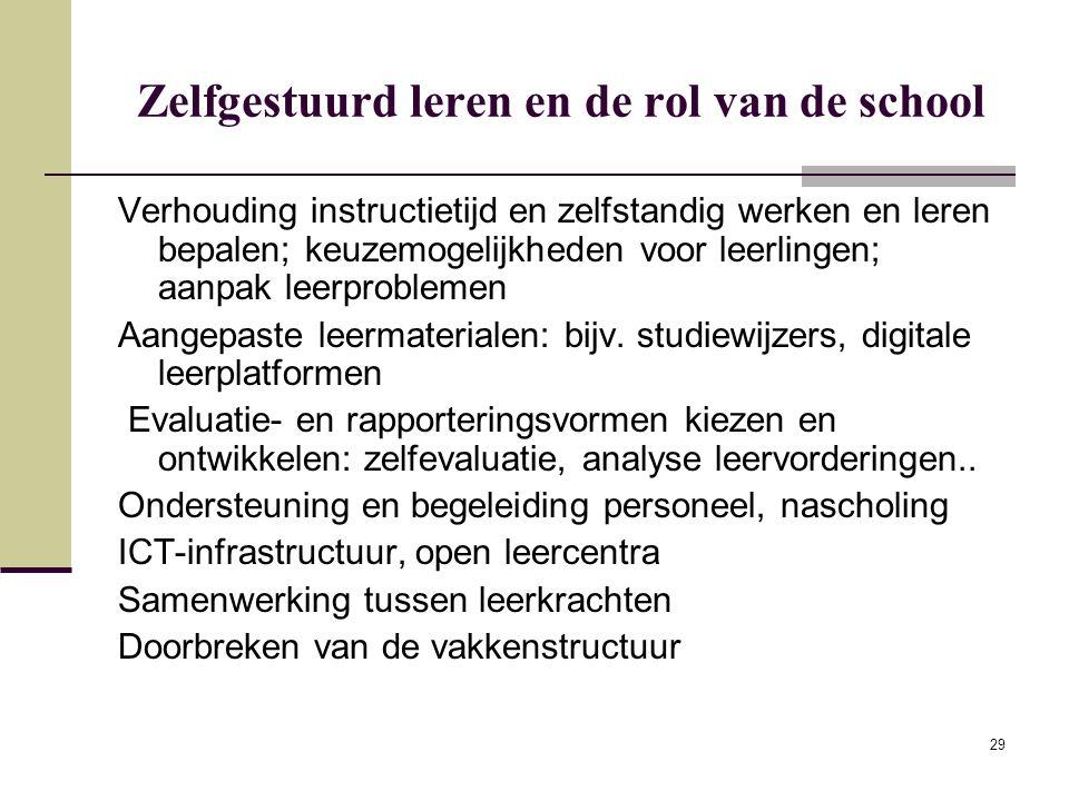 29 Zelfgestuurd leren en de rol van de school Verhouding instructietijd en zelfstandig werken en leren bepalen; keuzemogelijkheden voor leerlingen; aa