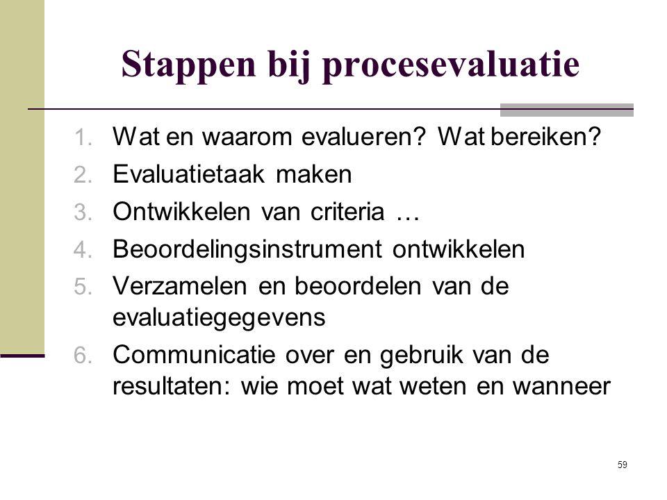 59 Stappen bij procesevaluatie 1. Wat en waarom evalueren? Wat bereiken? 2. Evaluatietaak maken 3. Ontwikkelen van criteria … 4. Beoordelingsinstrumen