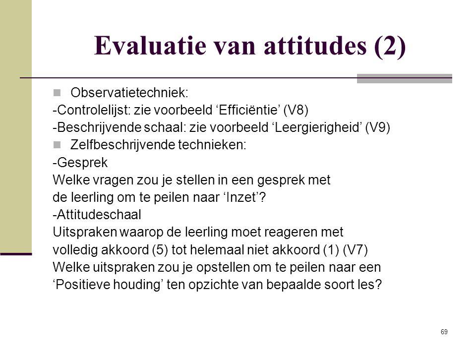69 Evaluatie van attitudes (2) Observatietechniek: -Controlelijst: zie voorbeeld 'Efficiëntie' (V8) -Beschrijvende schaal: zie voorbeeld 'Leergierighe