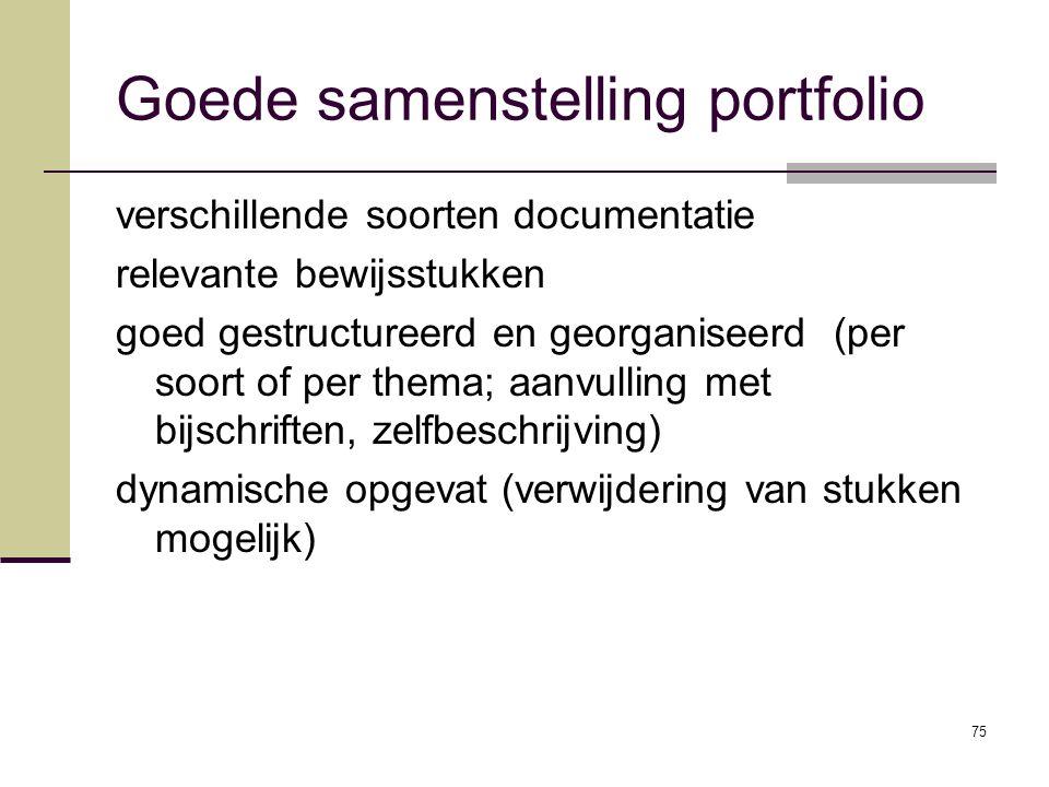 75 Goede samenstelling portfolio verschillende soorten documentatie relevante bewijsstukken goed gestructureerd en georganiseerd (per soort of per the
