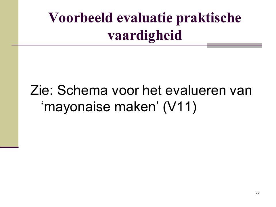 80 Voorbeeld evaluatie praktische vaardigheid Zie: Schema voor het evalueren van 'mayonaise maken' (V11)