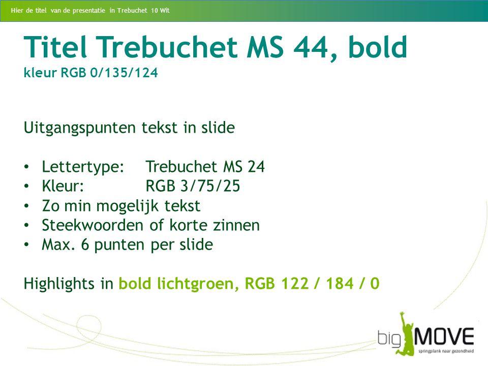 Titel Trebuchet MS 44, bold kleur RGB 0/135/124 Uitgangspunten tekst in slide Lettertype:Trebuchet MS 24 Kleur:RGB 3/75/25 Zo min mogelijk tekst Steek