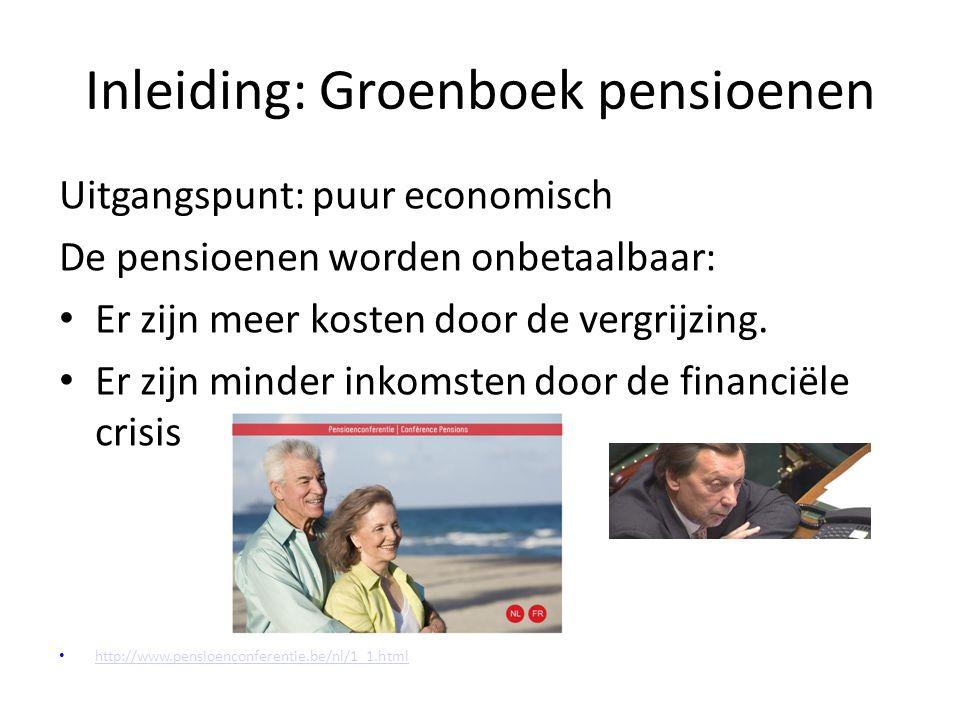 Inleiding: Groenboek pensioenen Uitgangspunt: puur economisch De pensioenen worden onbetaalbaar: Er zijn meer kosten door de vergrijzing.