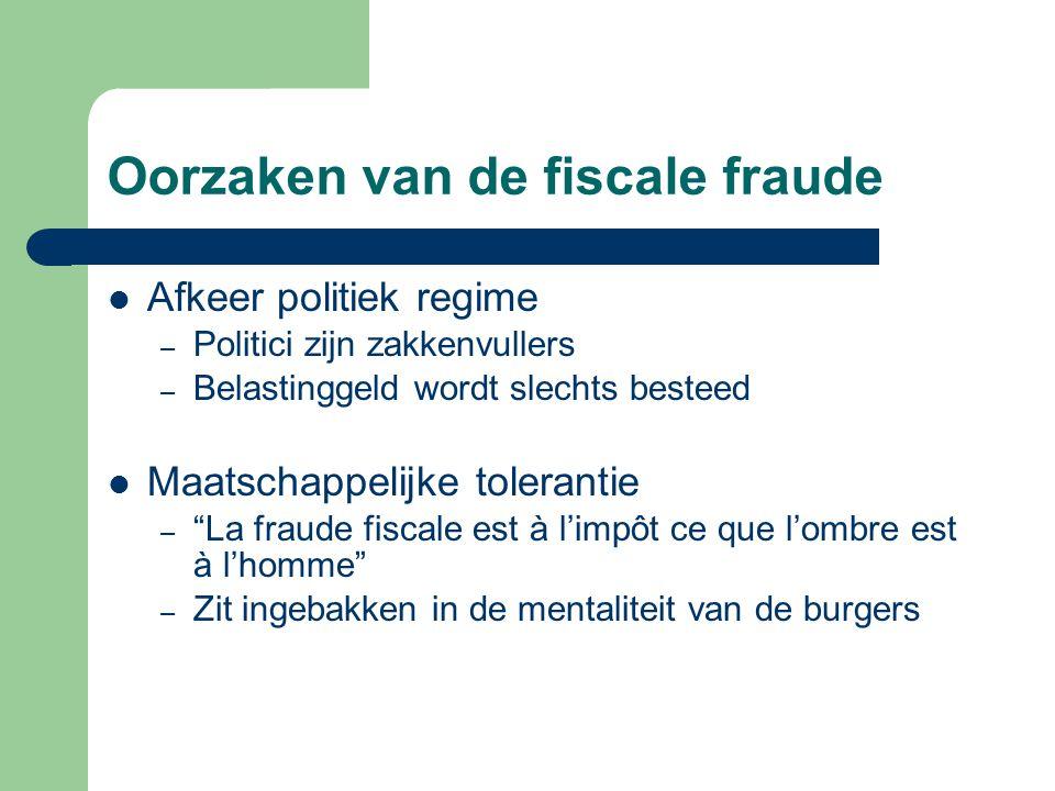 Oorzaken van de fiscale fraude Afkeer politiek regime – Politici zijn zakkenvullers – Belastinggeld wordt slechts besteed Maatschappelijke tolerantie