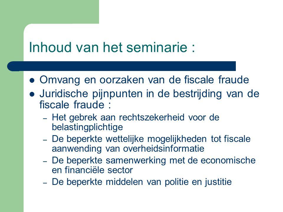 Inhoud van het seminarie : Omvang en oorzaken van de fiscale fraude Juridische pijnpunten in de bestrijding van de fiscale fraude : – Het gebrek aan r