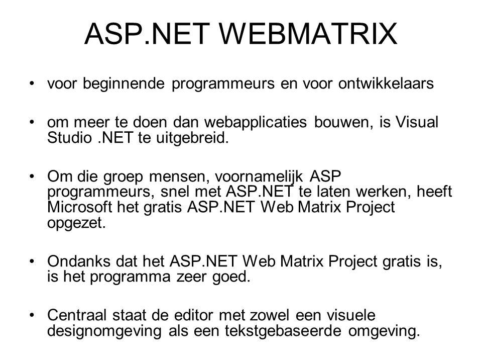 ASP.NET WEBMATRIX voor beginnende programmeurs en voor ontwikkelaars om meer te doen dan webapplicaties bouwen, is Visual Studio.NET te uitgebreid.