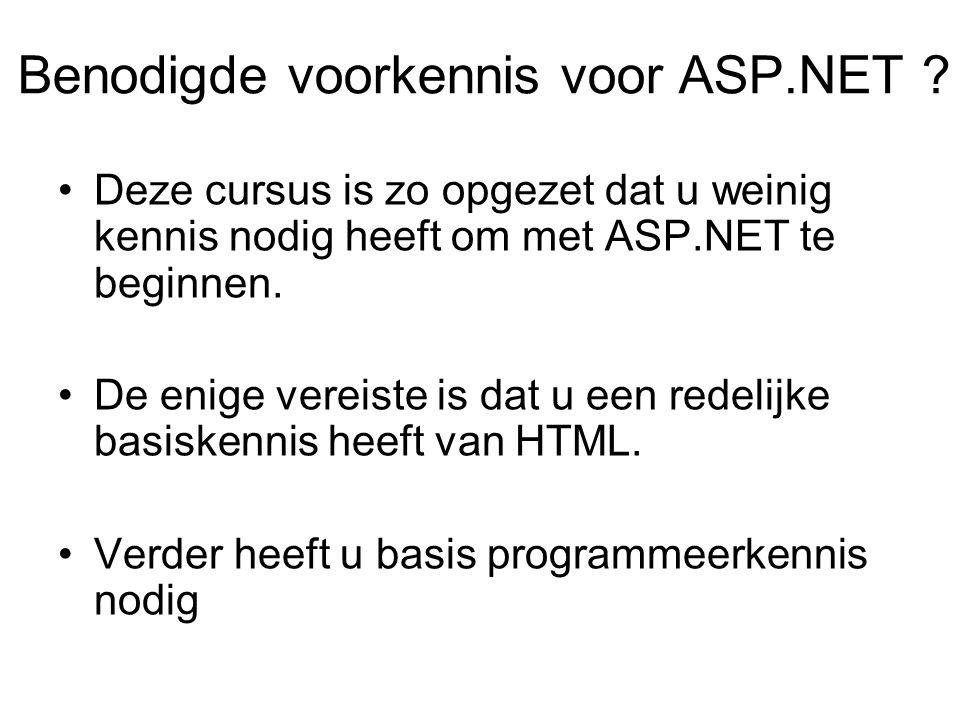 Benodigde voorkennis voor ASP.NET .