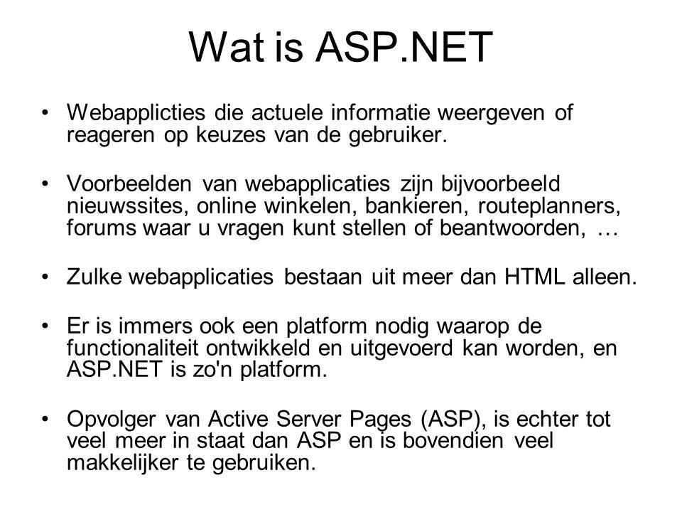 Wat is ASP.NET Webapplicties die actuele informatie weergeven of reageren op keuzes van de gebruiker.