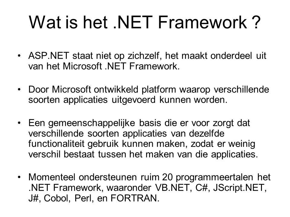 De verschillende onderdelen van een ASP.NET pagina hebben verschillende functies.