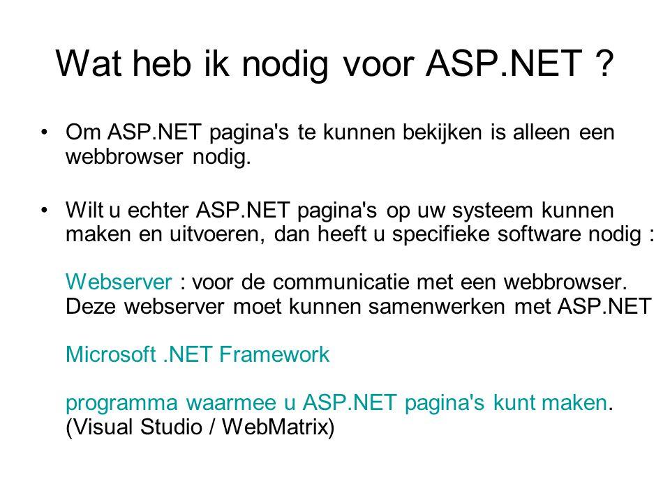 Wat heb ik nodig voor ASP.NET .