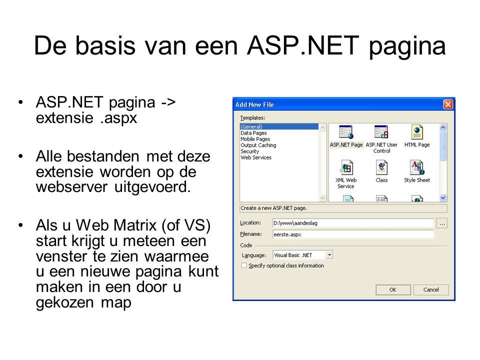 De basis van een ASP.NET pagina ASP.NET pagina -> extensie.aspx Alle bestanden met deze extensie worden op de webserver uitgevoerd.