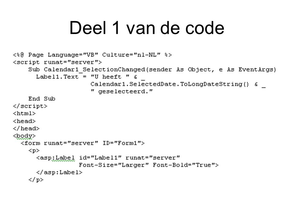 Deel 1 van de code