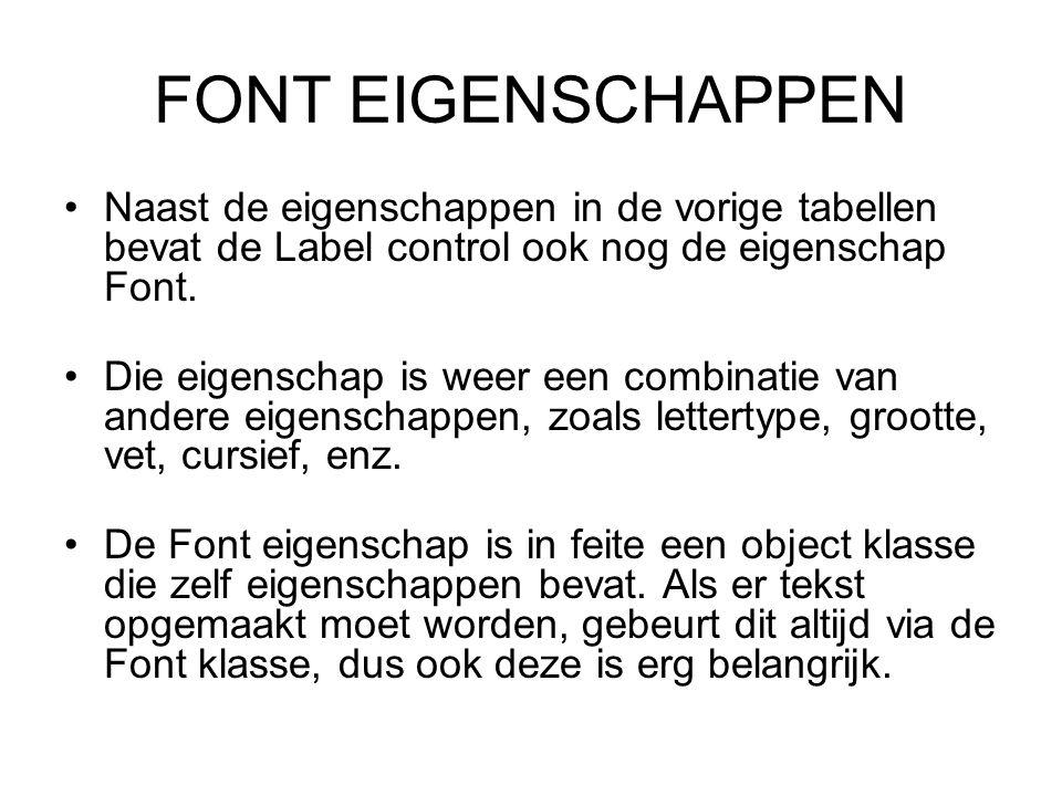 FONT EIGENSCHAPPEN Naast de eigenschappen in de vorige tabellen bevat de Label control ook nog de eigenschap Font.
