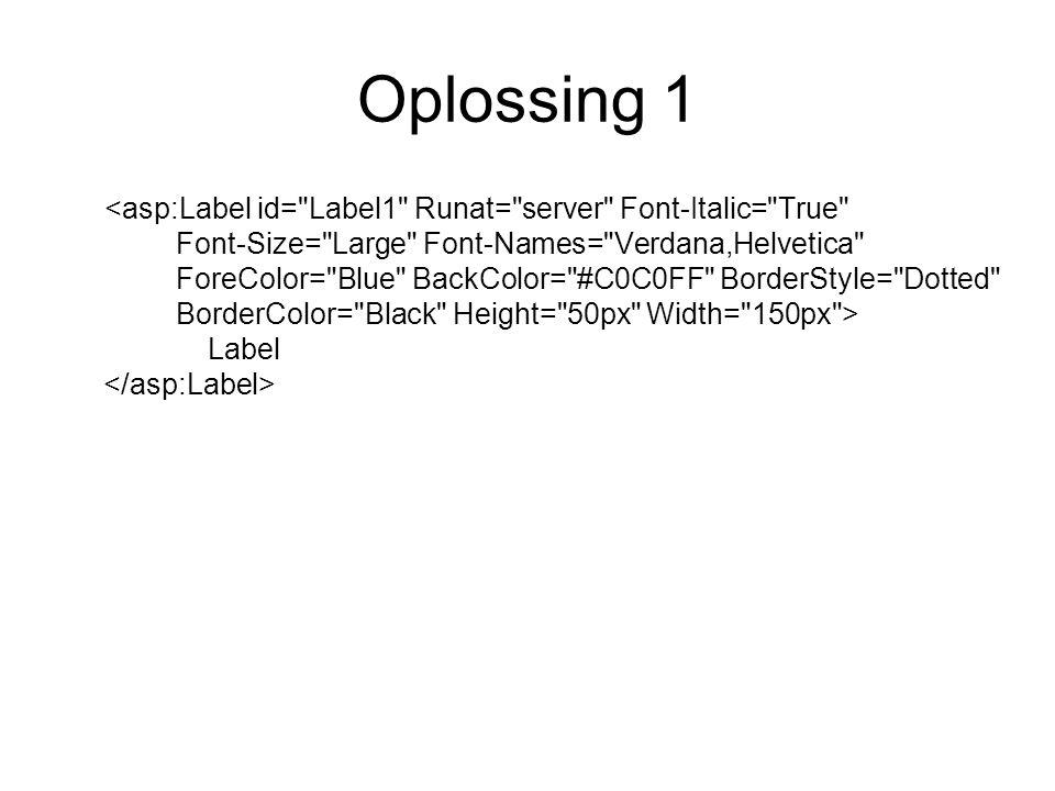 Oplossing 1 Label