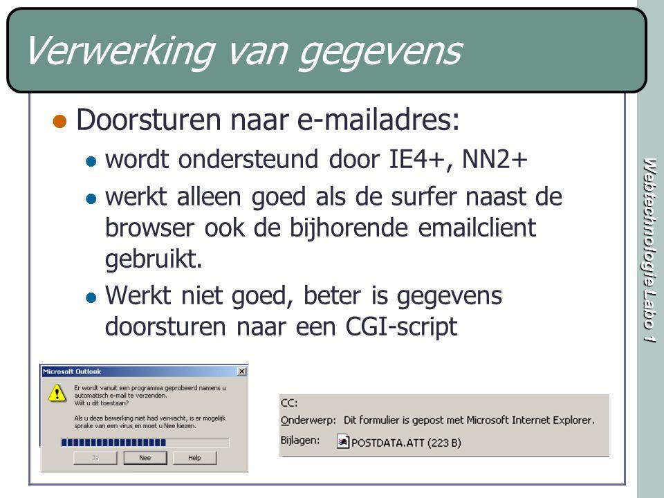 Webtechnologie Labo 1 Verwerking van gegevens Doorsturen naar e-mailadres: wordt ondersteund door IE4+, NN2+ werkt alleen goed als de surfer naast de browser ook de bijhorende emailclient gebruikt.