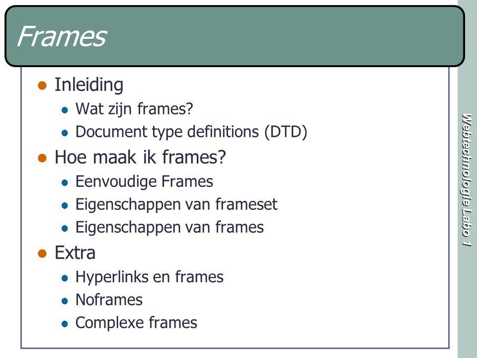 Webtechnologie Labo 1 Frames Inleiding Wat zijn frames.