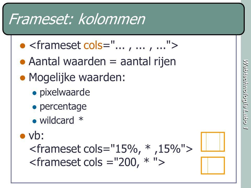 Webtechnologie Labo 1 Frameset: kolommen Aantal waarden = aantal rijen Mogelijke waarden: pixelwaarde percentage wildcard * vb: