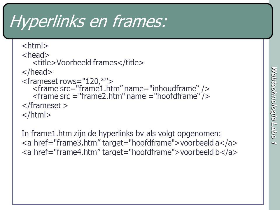 Webtechnologie Labo 1 Hyperlinks en frames: Voorbeeld frames In frame1.htm zijn de hyperlinks bv als volgt opgenomen: voorbeeld a voorbeeld b