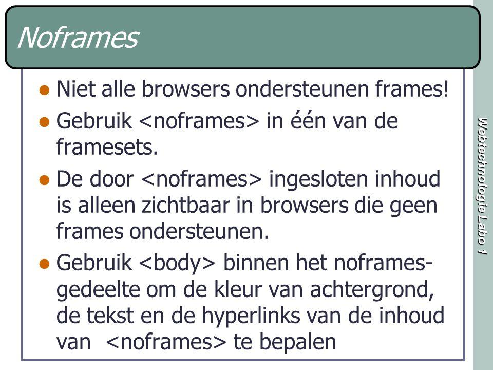 Webtechnologie Labo 1 Noframes Niet alle browsers ondersteunen frames.