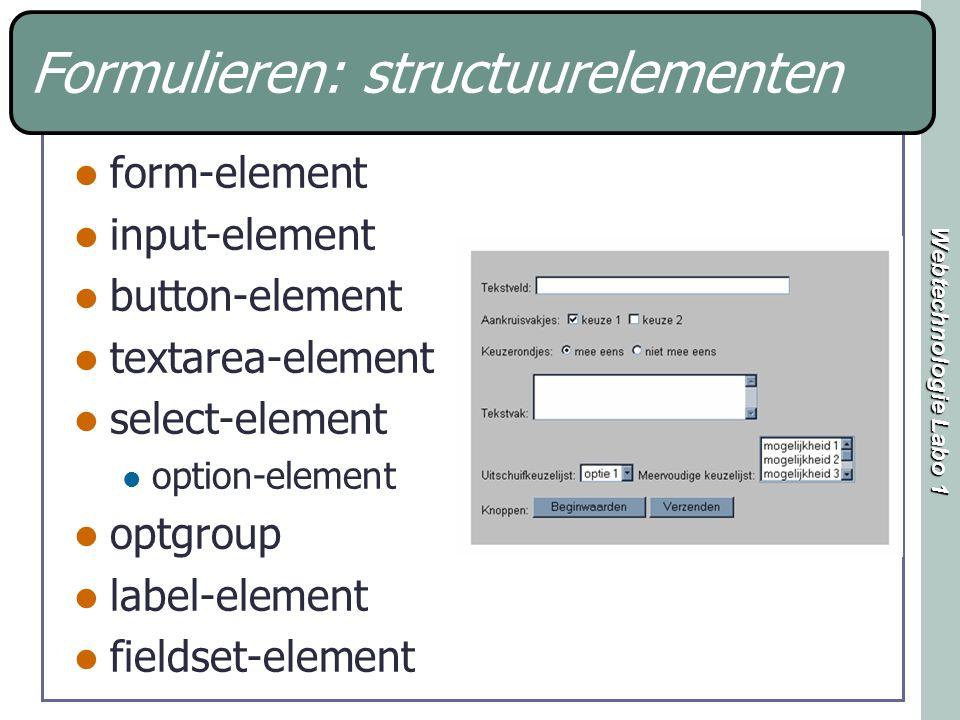 Webtechnologie Labo 1 Soorten velden tekstvelden keuzerondjes aankruisvakjes