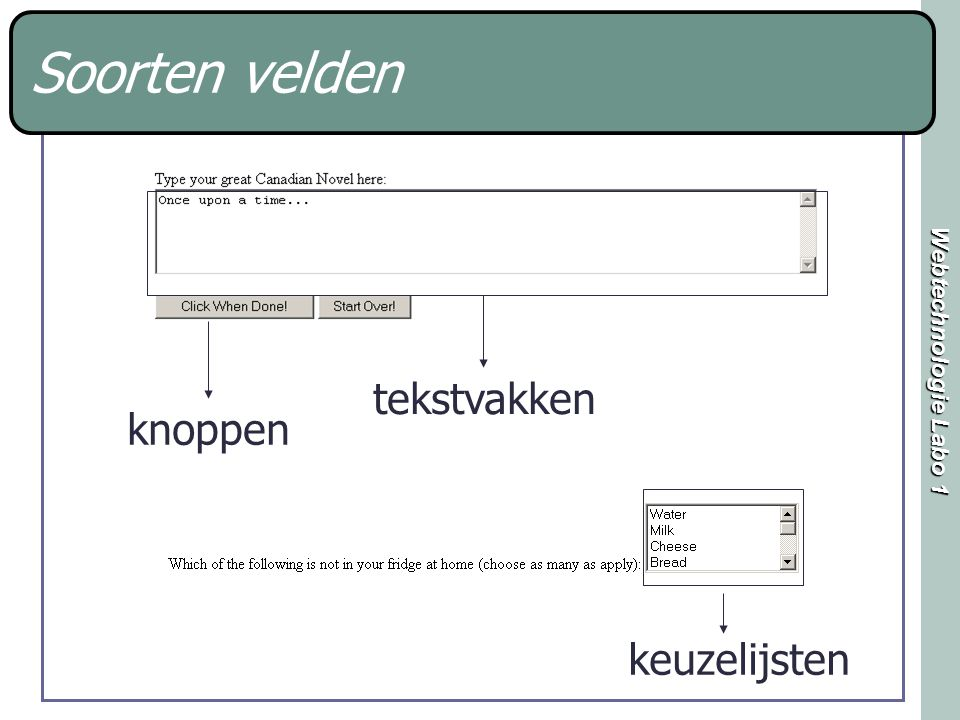 Webtechnologie Labo 1 Soorten velden knoppen tekstvakken keuzelijsten