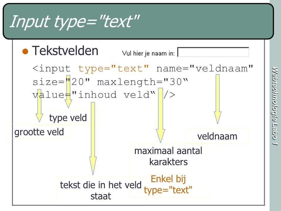 Webtechnologie Labo 1 type veldgrootte veld tekst die in het veld staat Input type= text Tekstvelden veldnaam maximaal aantal karakters Enkel bij type= text