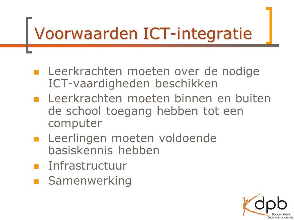 Voorwaarden ICT-integratie Leerkrachten moeten over de nodige ICT-vaardigheden beschikken Leerkrachten moeten binnen en buiten de school toegang hebben tot een computer Leerlingen moeten voldoende basiskennis hebben Infrastructuur Samenwerking