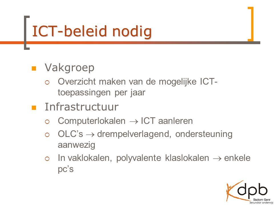 ICT-beleid nodig Vakgroep  Overzicht maken van de mogelijke ICT- toepassingen per jaar Infrastructuur  Computerlokalen  ICT aanleren  OLC's  drempelverlagend, ondersteuning aanwezig  In vaklokalen, polyvalente klaslokalen  enkele pc's