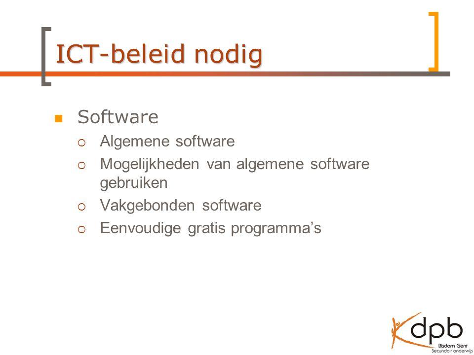 ICT-beleid nodig Software  Algemene software  Mogelijkheden van algemene software gebruiken  Vakgebonden software  Eenvoudige gratis programma's