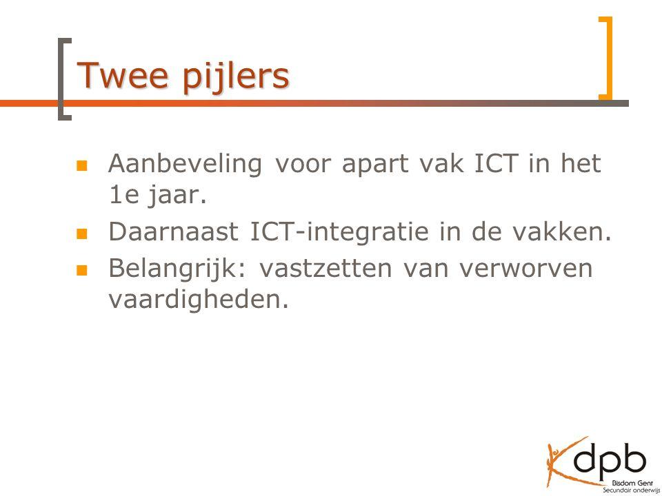 Aanbeveling voor apart vak ICT in het 1e jaar.Daarnaast ICT-integratie in de vakken.