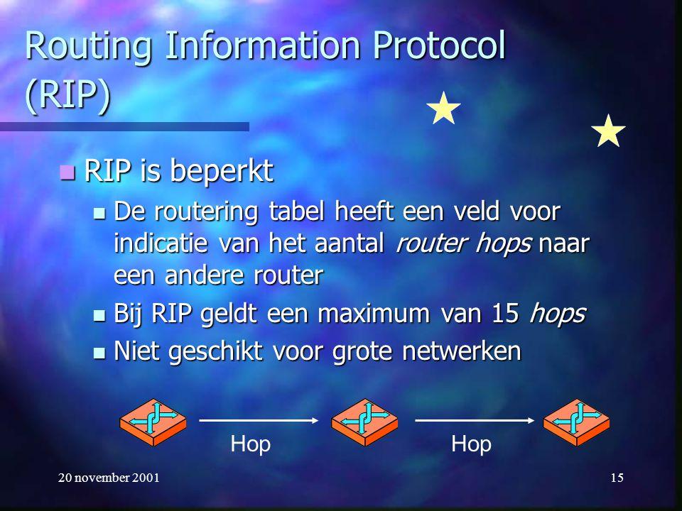 20 november 200115 Routing Information Protocol (RIP) RIP is beperkt RIP is beperkt De routering tabel heeft een veld voor indicatie van het aantal ro