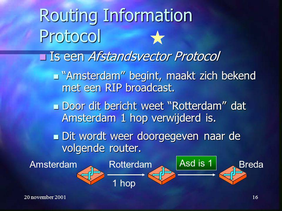 """20 november 200116 Routing Information Protocol Is een Afstandsvector Protocol Is een Afstandsvector Protocol """"Amsterdam"""" begint, maakt zich bekend me"""