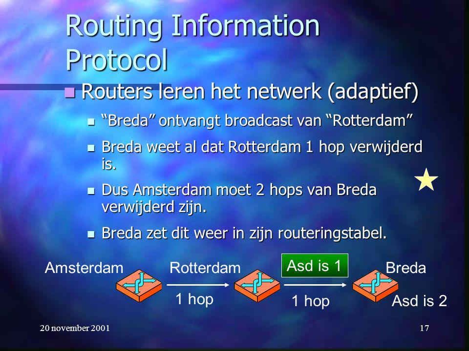 """20 november 200117 Routing Information Protocol Routers leren het netwerk (adaptief) Routers leren het netwerk (adaptief) """"Breda"""" ontvangt broadcast v"""