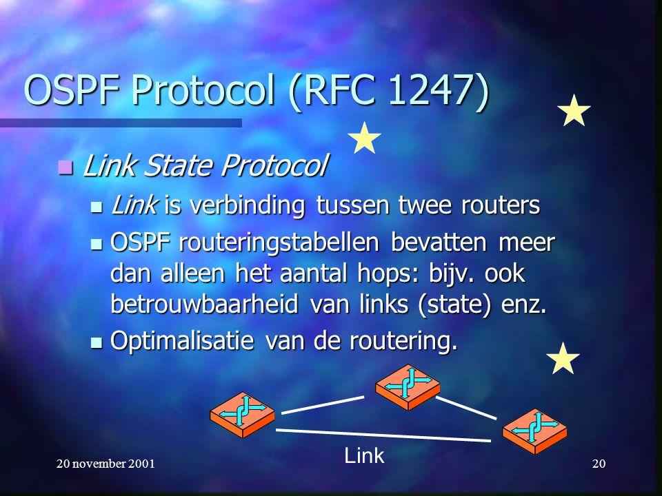 20 november 200120 OSPF Protocol (RFC 1247) Link State Protocol Link State Protocol Link is verbinding tussen twee routers Link is verbinding tussen t