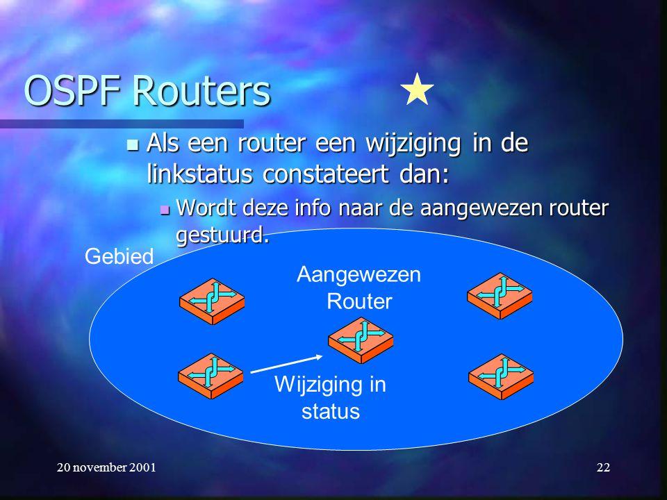 20 november 200122 OSPF Routers Als een router een wijziging in de linkstatus constateert dan: Als een router een wijziging in de linkstatus constatee