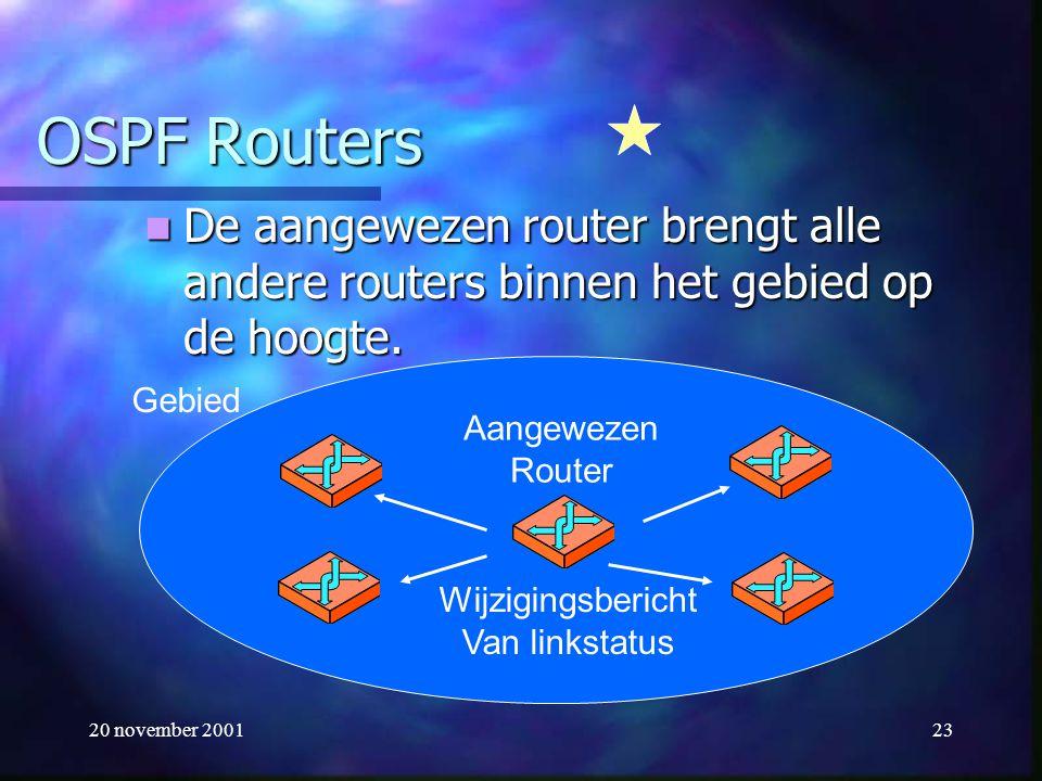 20 november 200123 OSPF Routers De aangewezen router brengt alle andere routers binnen het gebied op de hoogte. De aangewezen router brengt alle ander
