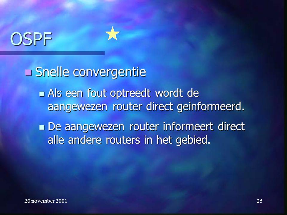 20 november 200125 OSPF Snelle convergentie Snelle convergentie Als een fout optreedt wordt de aangewezen router direct geinformeerd. Als een fout opt